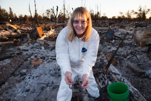 Fran Bengtsson says she recovered a few things she holds dear in the wreckage of her house after it burned down from the Tubbs Fire in Santa Rosa. Among the things she found were her grandfather's medals and her grandmother's china and silverware. She also found horseshoes that a friend had given her.