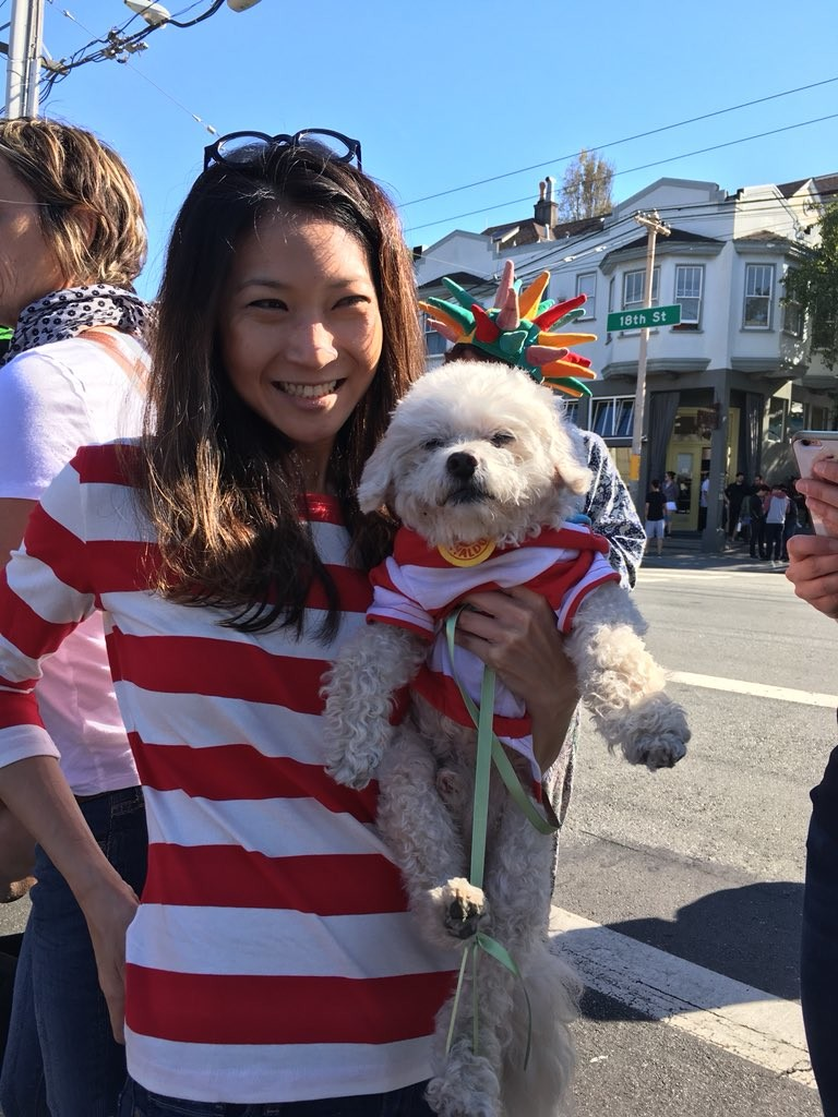 "Angela dressed her dog Jack up as Waldo. ""He doesn't like stuff on head and likes to blend, so it seemed fitting,"" Angela said."