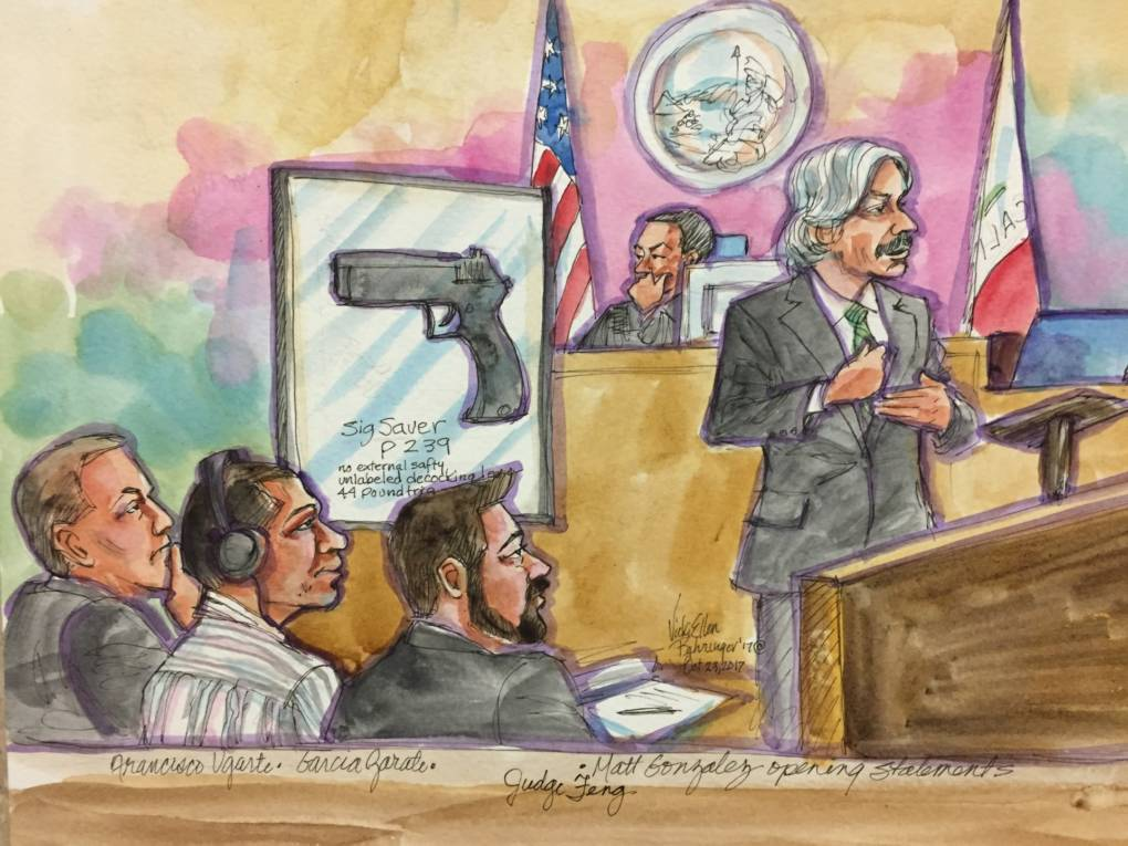 A courtroom painting depicting defense attorney Matt Gonzalez's opening statement in the Kathryn Steinle murder trial at the San Francisco Hall of Justice on October 23, 2017.
