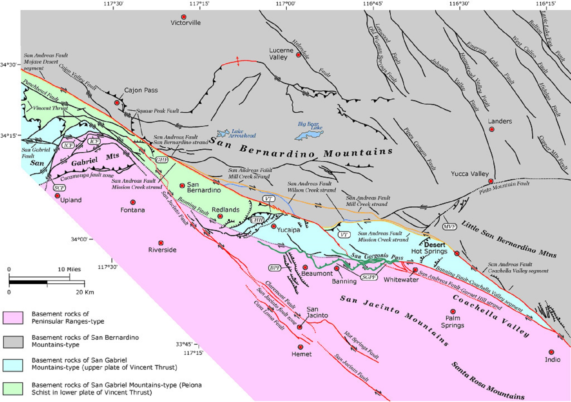 One segment of the San Jacinto fault — the red line running through the pink Peninsular Ranges rock-type section — as it runs from near Hemet north between Riverside and San Bernardino.