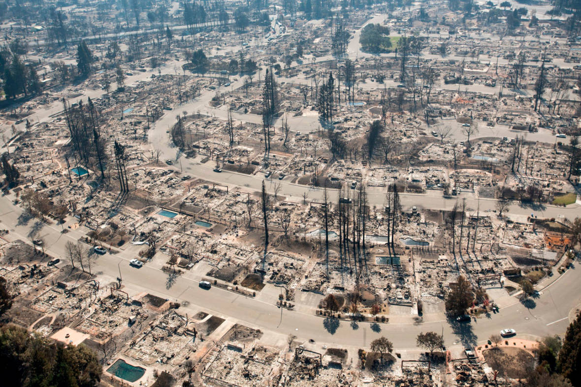 An aerial view shows devastated properties in Santa Rosa on Oct. 12, 2017. JOSH EDELSON/AFP/Getty Images