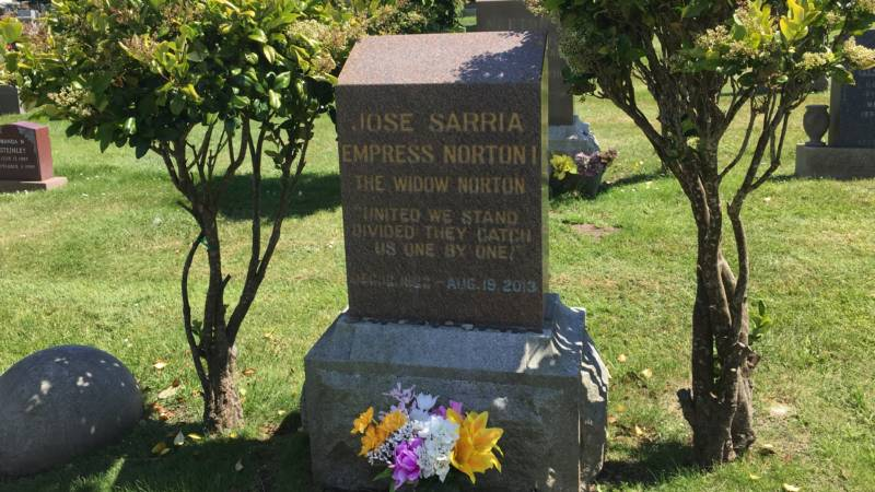 The grave of Jose Sarria at Woodlawn Cemetery in Colma.