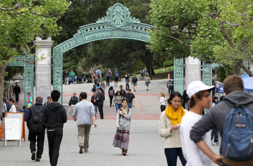 Students walk through Sproul Plaza on the UC Berkeley campus.
