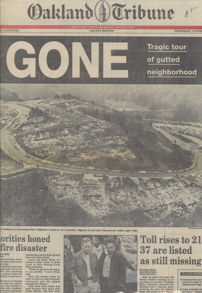 The Oakland Tribune's cover showing the aftermath of the Oakland Hills Fire.