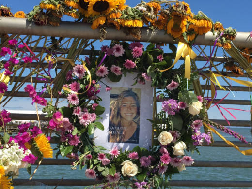 A memorial for Kate Steinle on San Francisco's Pier 14.