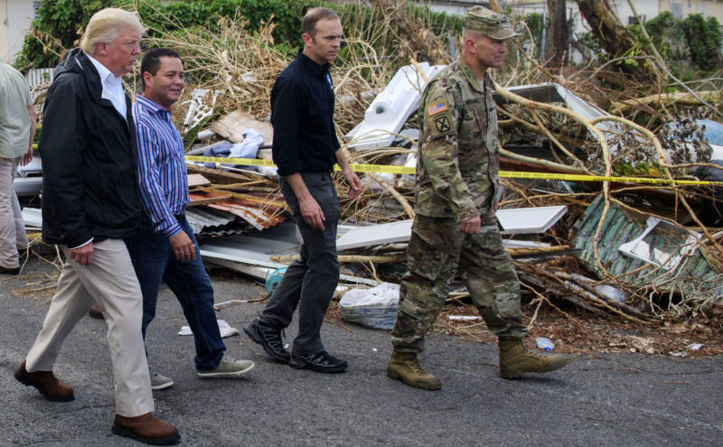 President Donald Trump visits Puerto Rico in the aftermath of Hurricane Maria on October 3, 2017.