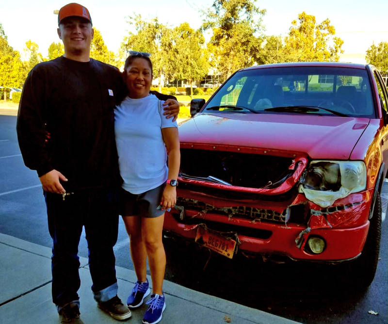 Anna Solano and Donny Riveras meet after fire swept through their Coffey Park neighborhood.