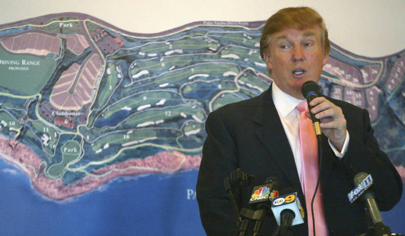 At the January 2005 groundbreaking of the Trump National Golf Club in Rancho Palos Verdes, the future president reportedly brought up an old lawsuit and used profanity.