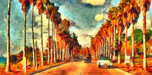 painting of California palm trees