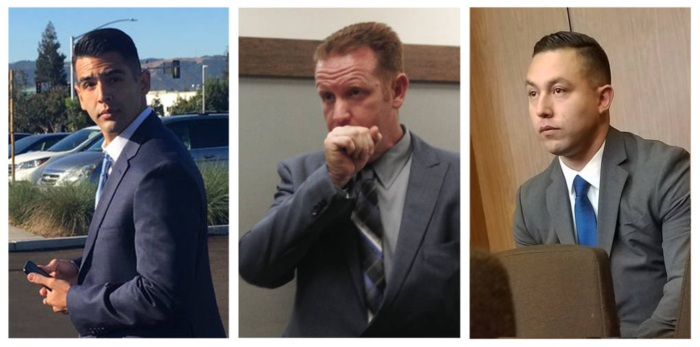 Criminal charges against three defendants, Giovanni LoVerde (left), Brian Bunton (middle) and Ricardo Perez (right) have been dismissed by an Alameda County Superior Court judge.