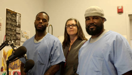Antwan Williams (L) and Earlonne Woods (R), two inmates at San Quentin State Prison, work with Nigel Poor (C) on the podcast Ear Hustle, distributed by Radiotopia from PRX.