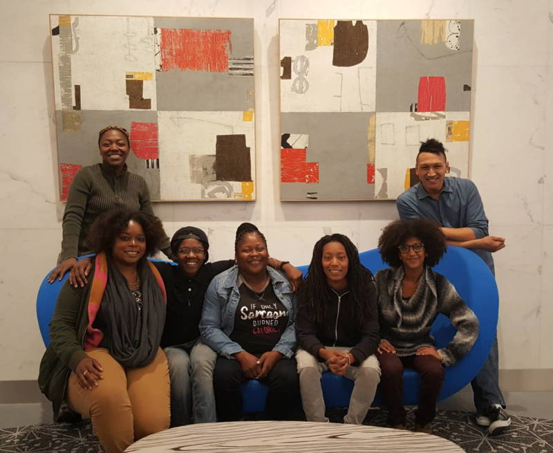The Hood Incubator is an Oakland non-profit that trains people of color to enter the legal weed industry. The staff consists of Sumaria Love, Juell Stewart, Ebele Ifedigbo, Linda Grant, Lanese Martin, Biseat Horning, and Phillip Howard Jr. (left to right).