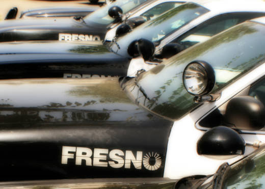 Fresno Police Dept. vehicles.