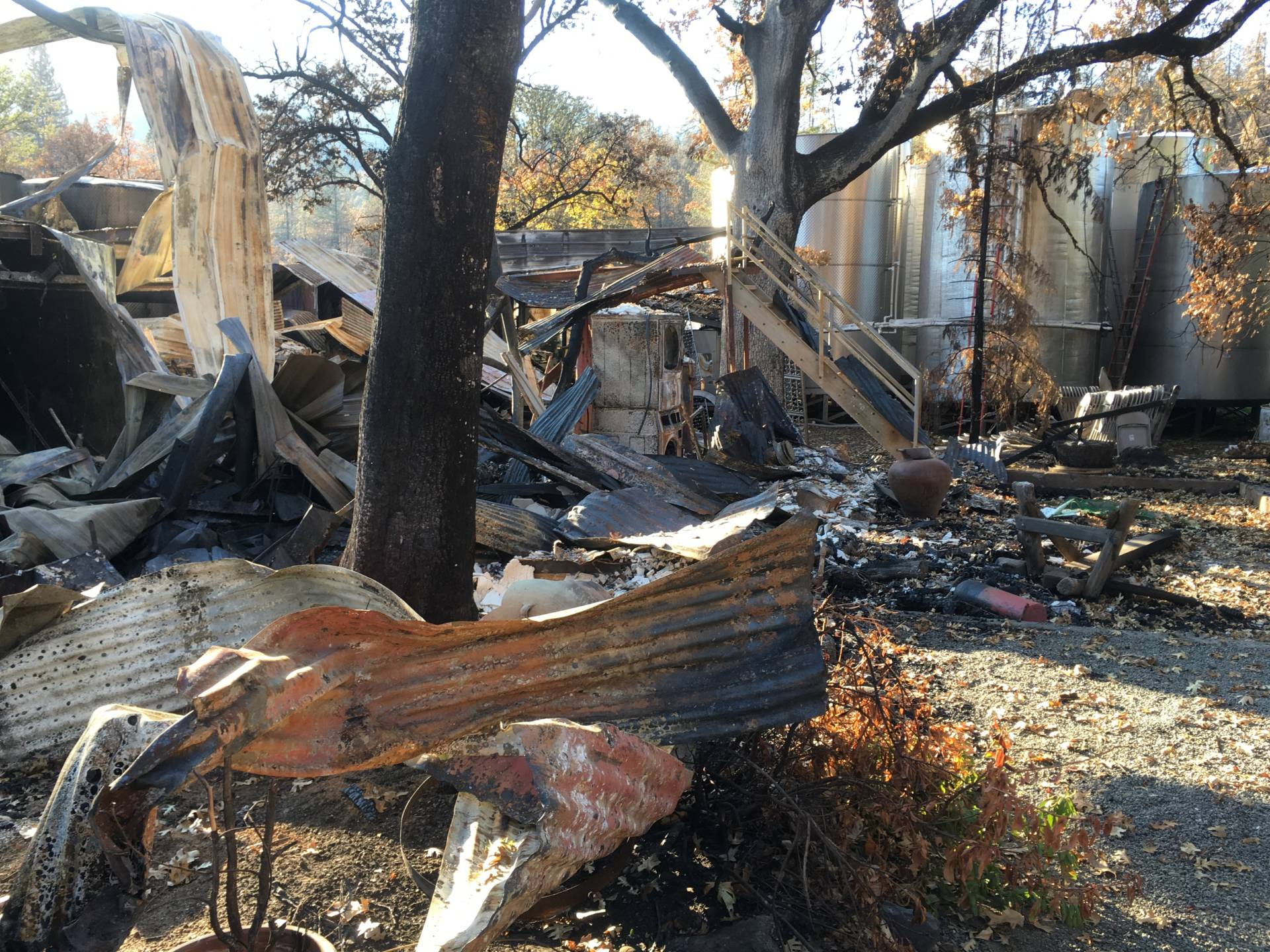 What's left of the Frey Winery offices and tasting room after the Redwood Valley fire in October. April Dembosky