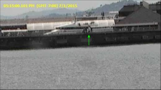 A frame from surveillance video from San Francisco's Pier 14 just over an hour before Kathryn Steinle was fatally shot.