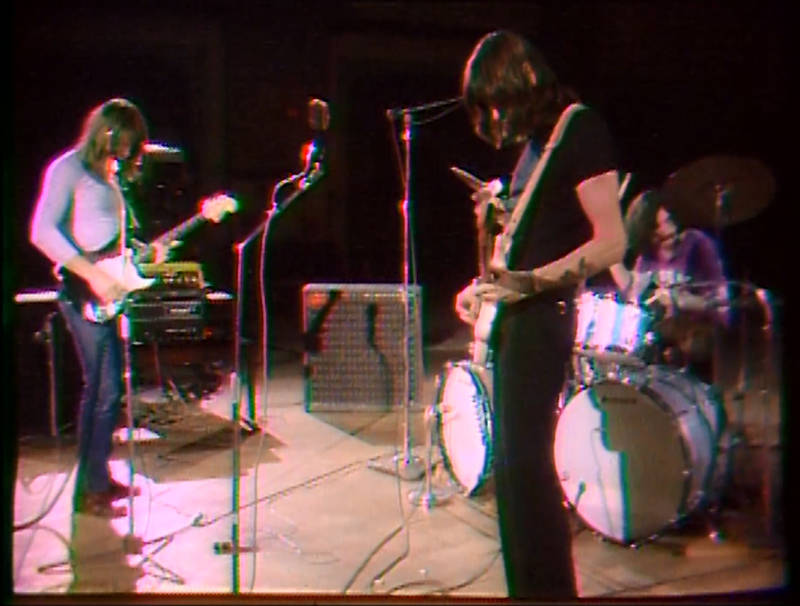 David Gilmour, Roger Waters and Nick Mason performing at the Fillmore Auditorium in 1970.