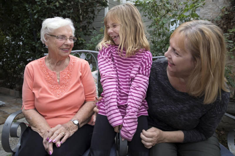 Lisa Patterson's mother Helene Marhefka (L), Lisa's daughter Brooke Patterson and Lisa's oldest sister Roberta Marhefka spend time at the Paterson home in Lomita on Oct. 30, 2017.