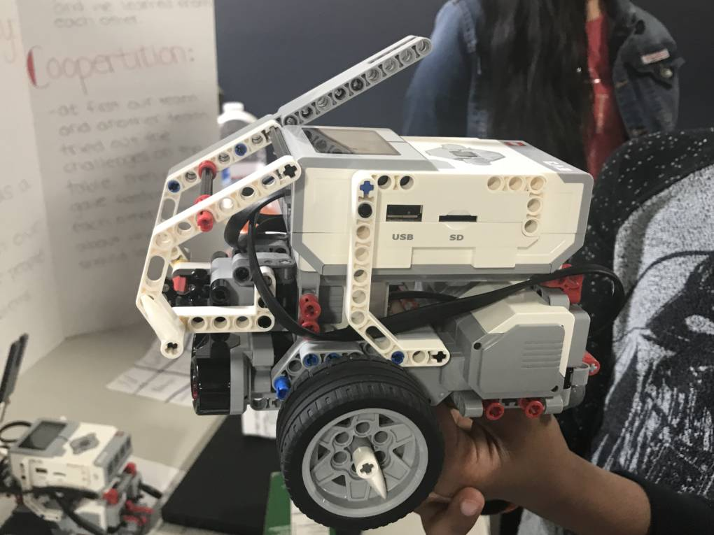 This robot was built by fourth, fifth and sixth graders from Fremont at the FIRST LEGO League competition in San Jose. Their team name was the Ogelions.