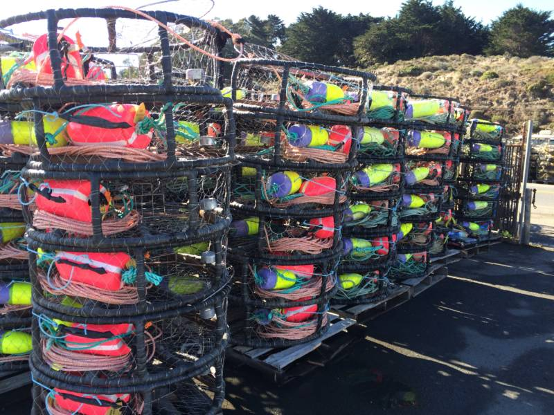Pallets stacked high with hundreds of traps sit on the Spud Point Marina.