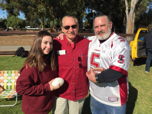 Joe Ficarra (center) has been going to the Big Game for 60 years. His son Jeff (right) went to his first game in 1978. Jeff's daughter and Joe's granddaughter Alanis is at her first Stanford game today.