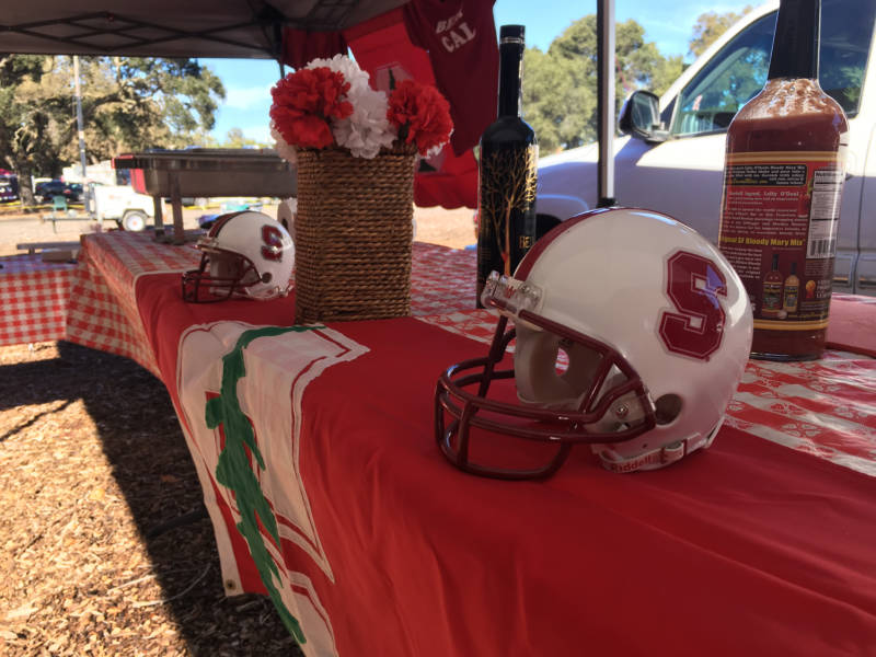 Tailgate decorations ranged from team helmets to colorful chandeliers.