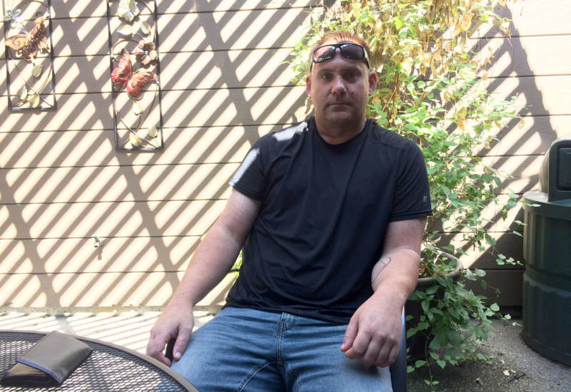 Justin Bales has been homeless off and on for about a decade. He recently landed back in Oakhurst and is couch surfing.
