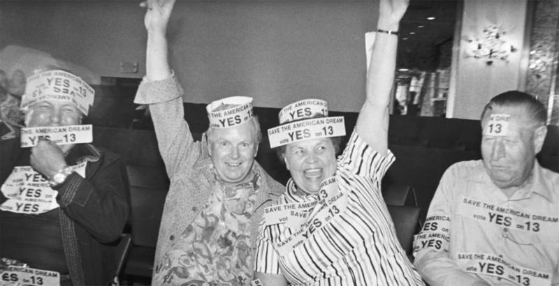 Proposition 13 backers celebrate the measure's passage in 1978.