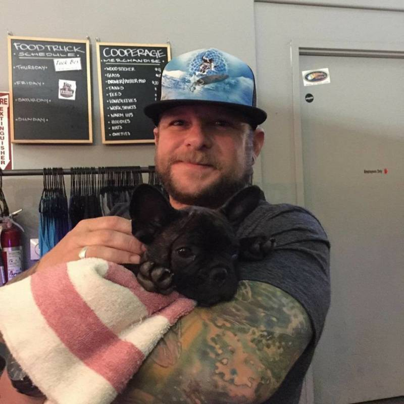 Mike Grabow, 40, and his French bulldog, Stax, died when the Tubbs Fire hit their neighborhood in Santa Rosa on Oct. 9.