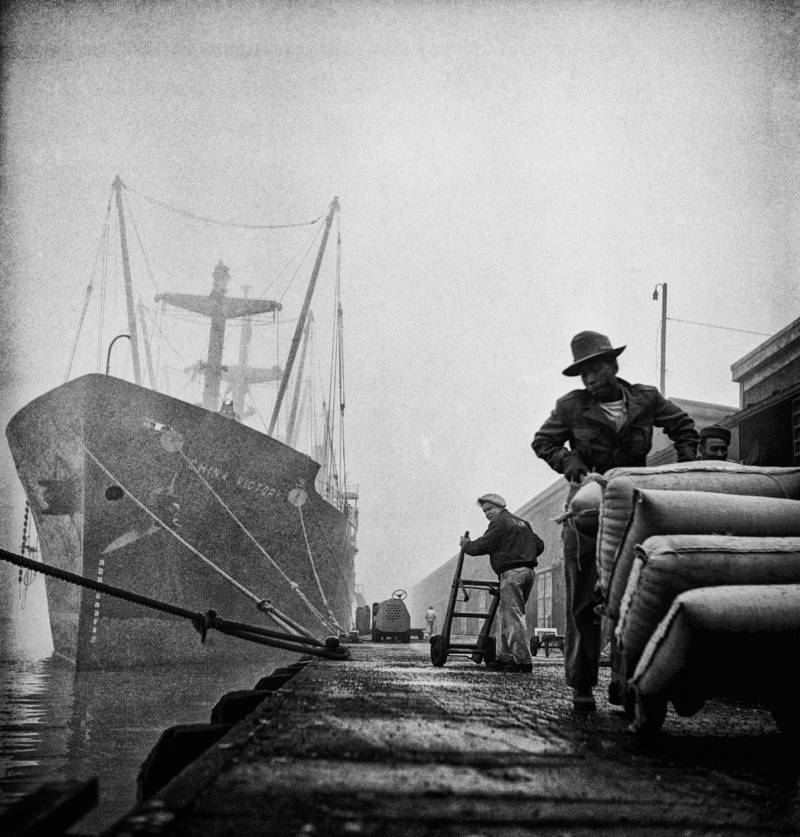 Fred Lyon spent a lot of the time on the San Francisco waterfront, which has changed a lot since he shot 'Dock Workers, Embarcadero.'