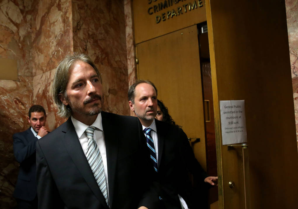 San Francisco public defender chief attorney Matt Gonzalez (L) leaves court after the arraignment for Jose Ines Garcia Zarate, also known as Juan Francisco Lopez Sanchez on July 7, 2015 in San Francisco.