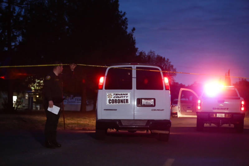 A Tehama County Coroner's van enters the Rancho Tehama Elementary school grounds after a shooting on November 14, 2017, in Rancho Tehama.