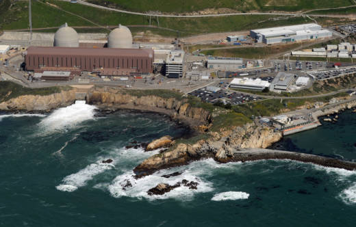 Aerial view of the Diablo Canyon Nuclear Power Plant which sits on the edge of the Pacific Ocean at Avila Beach.