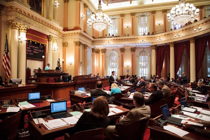 California state senators weigh a new state budget in June, 2015.