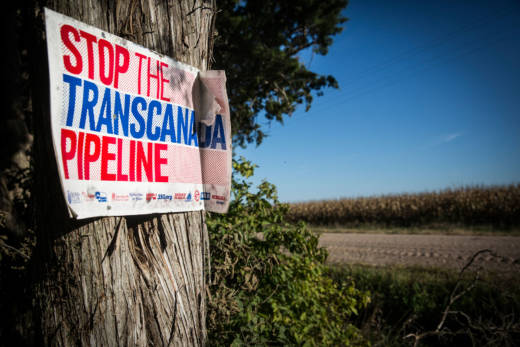 A protest sign sits in the proposed path of the Keystone XL pipeline, in Polk, Nebraska.