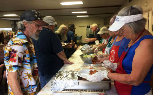Churches in the Oakhurst area, just outside Yosemite, host weekly dinners for the region's homeless community.