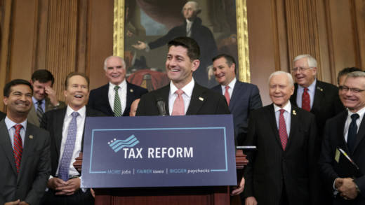 House Speaker Paul Ryan, R-Wis., talks about Republicans' proposed rewrite of the tax code at the Capitol on Sept. 27. The text of a tax bill is to be released Thursday.