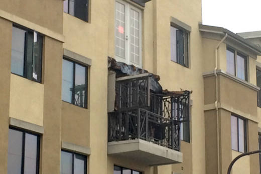 The balcony at 2020 Kittredge St. that collapsed on June 15, 2016, killing six and injuring seven.