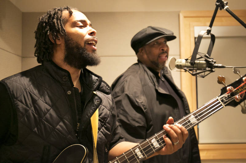 Quantae Johnson and his uncle, Dwayne Morgan, of the Sons of the Soul Revivers, perform in KQED's studios on Nov. 21, 2017.