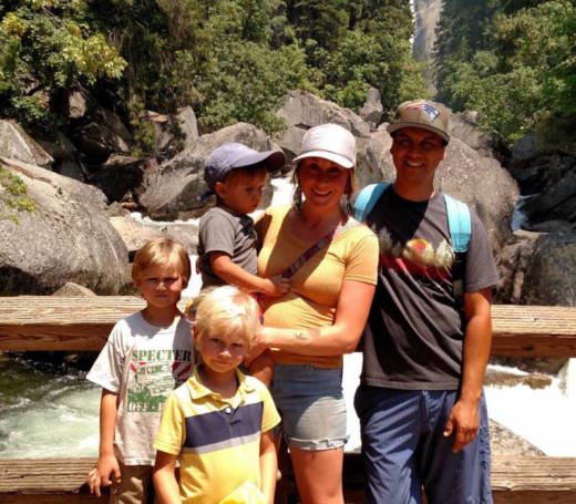 Adrian Diaz, his wife Elly, and their three sons at Yosemite this summer before their home burned down in Mendocino.