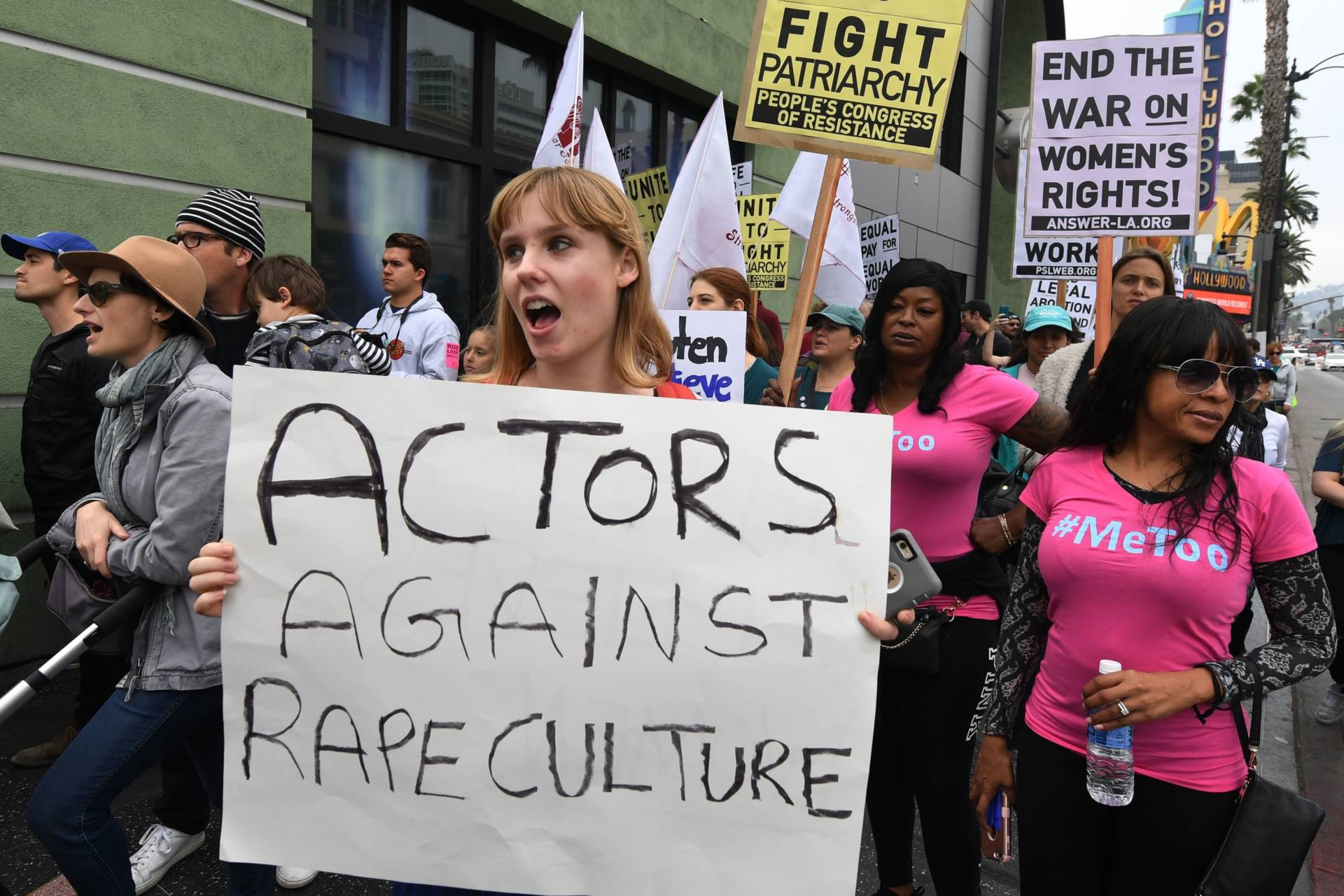 Victims of sexual harassment, sexual assault, sexual abuse and their supporters protest during a #MeToo march in Hollywood on Nov. 12. Mark Ralston/AFP/Getty Images