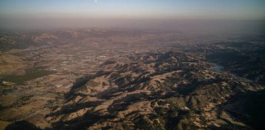 Silicon valley from the air, showing haze of air pollution
