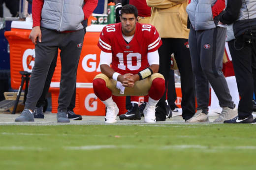 Jimmy Garoppolo of the 49ers during a game against the Arizona Cardinals at Levi's Stadium on Nov. 5, 2017. The 49ers are 0-9, but at least you can get a free DNA kit in the stands. Should you, though?