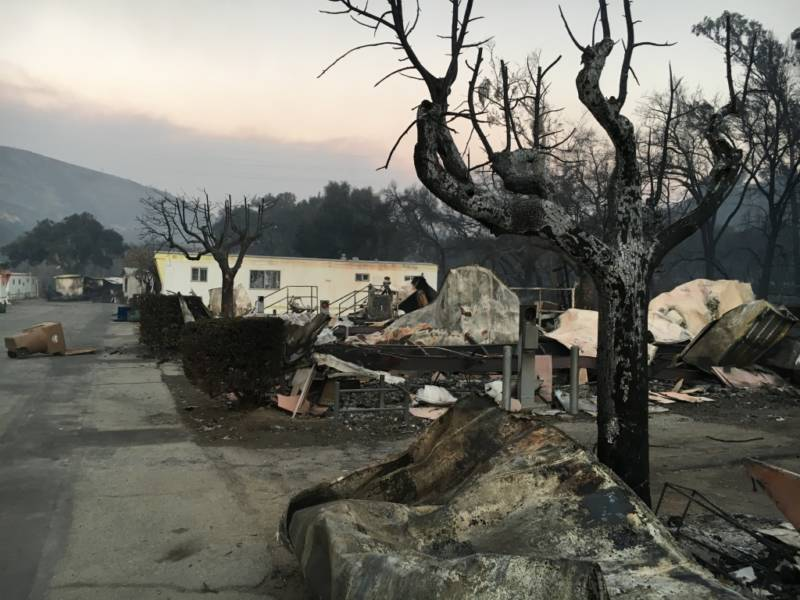 Several of the ten mobile home trailers that burned in the Thomas Fire in the Santa Paula area are seen early Wednesday, Dec. 6, 2017.