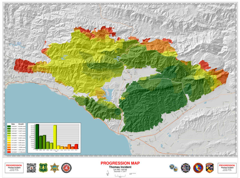 A map of the Thomas Fire's progression as of early Sunday, Dec. 17, 2017.