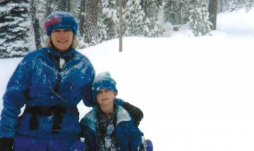 Allen Young skiing with his mother, Sydney Parks, in 1994. Parks, a single parent, died in 2008 at age 59.