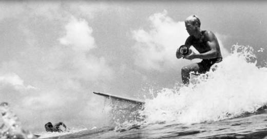 Bruce Brown, surfing with a camera.