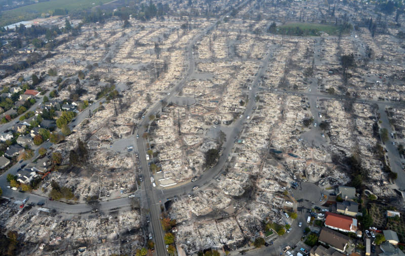 An aerial view shows the devastation of the Coffey Park neighborhood after the Tubbs Fire swept through Santa Rosa.