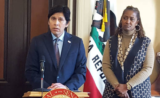 Senate Leader Kevin de León (D-Los Angeles) and Sen. Holly Mitchell (D-Los Angeles) announce reforms of the state Senate's sexual harassment policies.
