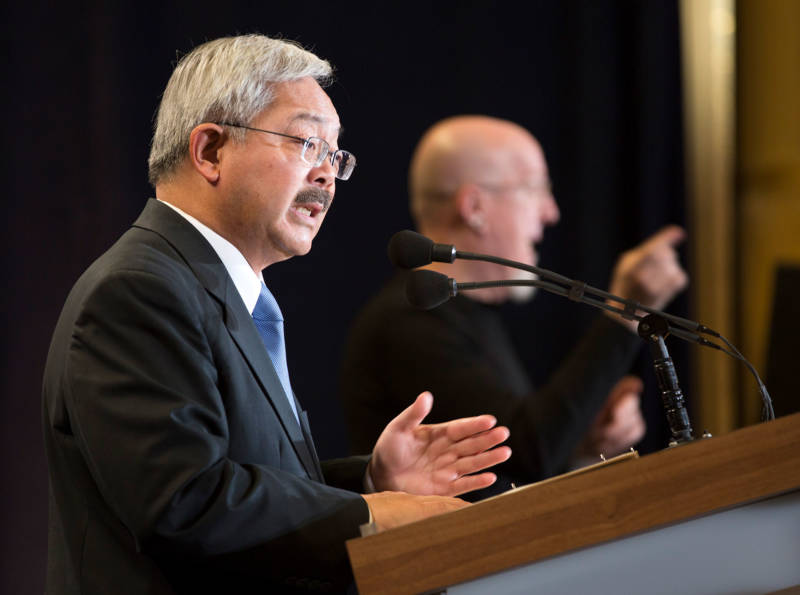 Ed Lee delivers his State of the City Address on January 26, 2017. In part, Lee dedicated the speech to directly attacking President Trump's polices.