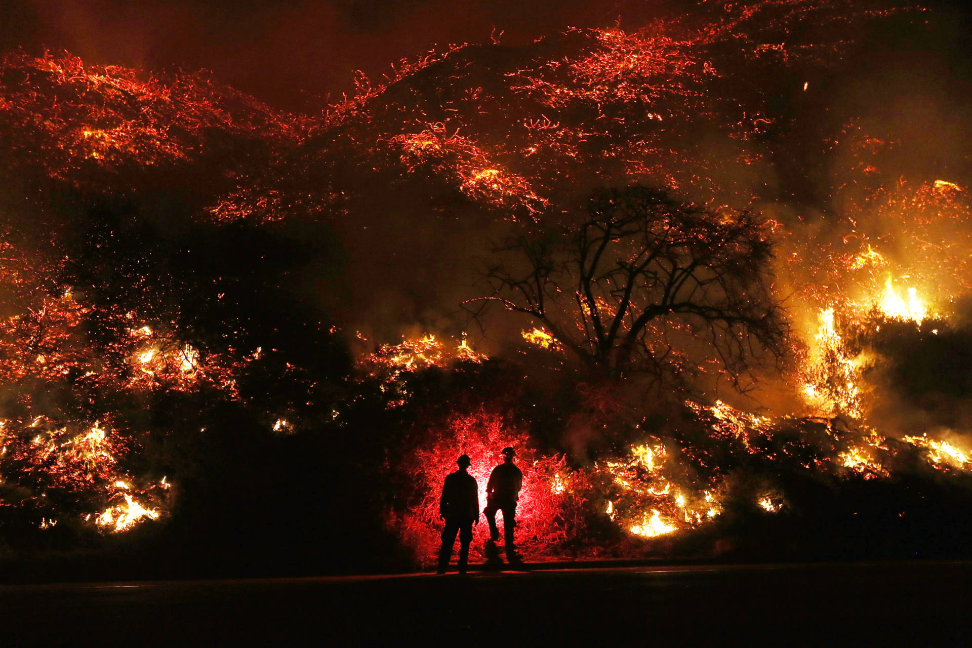 Firefighters monitor a section of the Thomas Fire along the 101 freeway on Dec. 7, 2017, north of Ventura. The firefighters occasionally used a flare device to burn off brush close to the roadside. Strong Santa Ana winds are rapidly pushing multiple wildfires across the region, expanding across tens of thousands of acres and destroying hundreds of homes and structures.  Mario Tama/Getty Images